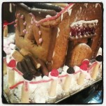 Gingerbread house with finger logs